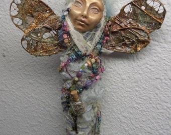 Dragonfly Spirit Art Doll, OOAK Figurative Sculpture,  Mix Media, Art Doll by Griselda