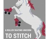 Cross Stitch Kit: Roller Skating Unicorn