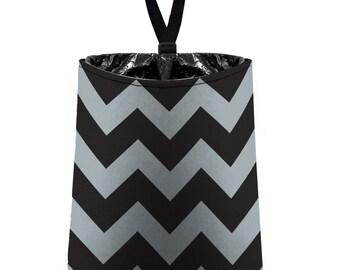 Car Trash Bag // Auto Trash Bag // Car Accessories // Car Litter Bag // Car Garbage Bag - Chevron - Grey and Black
