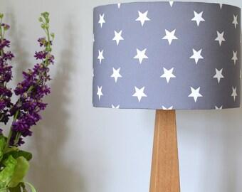 Grey Scandi Stars Wooden Oak Table Lamp