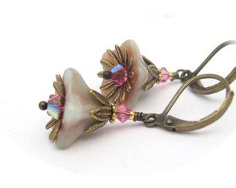Pink Flower Earrings, Bohemian Woodsy, Dangle Drops, Aqua Cranberry, Swarovski Crystals, Wedding Bride Bridesmaid Gift Hawaiibeads