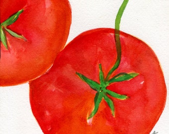 Tomatoes Watercolors Paintings Original , Small Fruit Painting, Kitchen Wall Art 5 x 7 original watercolor painting of tomato, kitchen decor