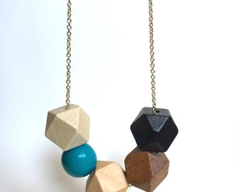 Faceted Geometric Necklace - 5 Wooden Beads on Gold