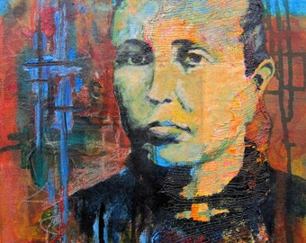 Original Art Ancestor Female Portrait on Abstract Background Brown Turquoise Painted Texture Mixed Media Framed
