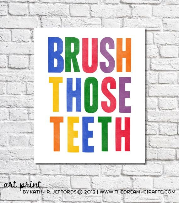 Brush Those Teeth Brush Your Teeth Reminder Art For Kid's Bathroom, Bright Bold Sign, Colorful Typographic Print, Children's Bathroom Decor