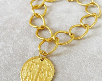Gold Coin Bracelet, Graduation gift, Statement bracelet, Gift for her, Anniversary gift,  gift for wife, gift for teachers