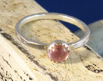 Pink tourmaline ring tiny stacking cabochon band -Valentine's Candy Heart