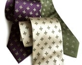 Fleur-de-lis silk tie. Mardi Gras, New Orleans gift. French Royalty necktie. Antique brass print on cream, eggplant, olive and more.
