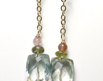 Prasiolite earrings, tourmaline accents, faceted green, gold filled chain and earwire