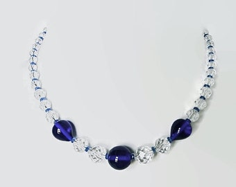 Czech glass necklace. Vintage, Bohemian Cobalt blue glass crystal beads.