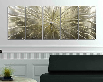 Gold Modern Metal Painting - Contemporary Wall Art - Reflective Home Decor - Gold Painting - Large Wall Accent - Axiom by Jon Allen