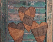 3 Primitive Heart Ornaments, Rustic Tattered Hearts, Antique Quilt Decor, Farmhouse Home Decor, Blue White Red - READY TO SHIP