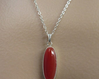 Carnelian Necklace. Carnelian Pendant. Orange Red Cabochon. Red Stone Necklace. Silver Chain Necklace