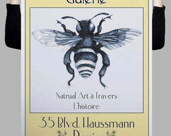 La Chronique,French Vintage style Gallery Poster, Typography, Original Insect Bee Etching or Drawing,  Digital Art Download Print or Poster