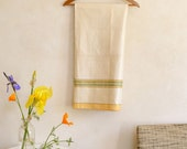 Vintage Linen Tablecloth Natural Color w/ Woven Stripes in Yellow Green