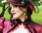 Splendor Wool and Taffeta Tilt Hat - Gothic Victorian - Made to order