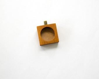 Fine finished DEEP hardwood pendant blank - Mahogany - 18 mm - Brass Bail