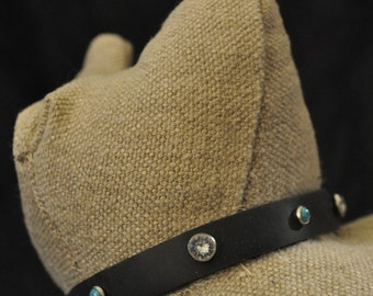 Black Leather Cat Collar with Small Turquoise and Crystal Rivets (The Callie)