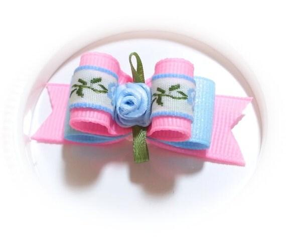 Floral Dog Bow, Blue Glitter Ribbon, Blue Satin Flower, Pink Grosgrain Ribbon, Small Pet Bow