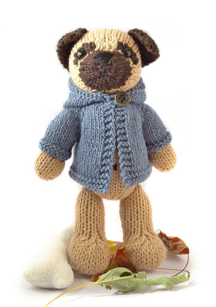 Knitting Pattern Pug Dog Sweater : Pug with Anorak Knitting Pattern