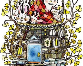 Rabbit House watercolor art