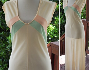 Pastel STRIPES 1960's 70's Vintage Long Cream Pink + Baby Blue Striped Nightie Slip Gown // by SEARS // size Small