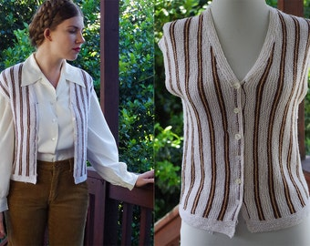 STRIPES 1960's 70's Vintage White + Brown Striped Vest with Button Front // size Small // Handmade