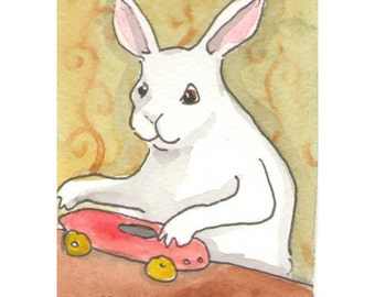 Original Watercolor Rabbit Painting - Race Car - ACEO