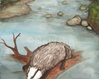 Original Art - The Eight of Badgers- Watercolor Badger Painting -The Badgers Forest Tarot