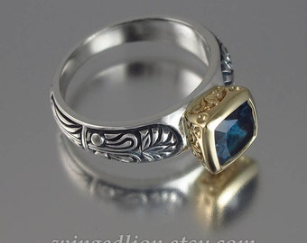 ALEXANDRA silver and 14K gold ring with London Blue Topaz