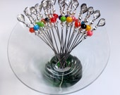 Value Party Pack - Set of 20 Stainless Steel Cocktail Picks Appetizer Picks Martini Picks Barware with Colorful Laminated Acrylic Beads