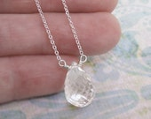 Rock Crystal Necklace Sterling Silver Chain Solitaire Drop Teardrop DJStrang Clear White Pear Briolette Minimalist Bridal