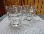 Set of 2 Matching Glass Beer or Party Mugs Thumprint style