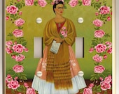 Frida Kahlo with Red Rose Border- Green, White and Gold - Folk Art - Double Light Switch Plate