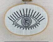 STARRY EYED - pdf embroidery pattern - modern, trend, eyeball, eye, celestial