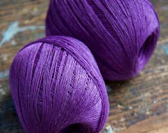 Linen yarn thread -- one ball -- purple -- 3-ply