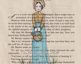 Pride and Prejudice Jane Austen Chapter One Print - Elizabeth Bennet - 5 x 7 print