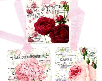Gift Tags , Vintage Rose Tags , Hydrangea Tags , French Tags , Shabby Roses , Pink Rose , Red Rose