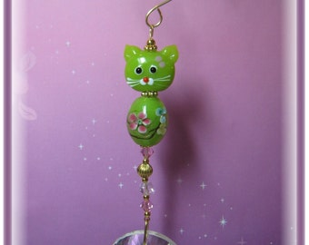 Green Kitty Lampwork Suncatcher with Large 40mm Sun Disc Austrian Crystal, Handmade Hanger, Unique Gifts, Gifts for Cat Lovers, Cat Lovers
