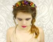 Bridal Flower Crown, Autumn Flower Crown, Simple Bridal Crown, Boho Flower Crown, Rustic Wedding Accessory, Flower Girl Crown