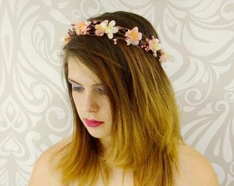 Bridal Flower Crown, Blush Pink Headpiece, Floral Hair Wreath, Bridal Hairpiece, Cherry Blossom Flower Wreath, Pink Wedding Crown Halo