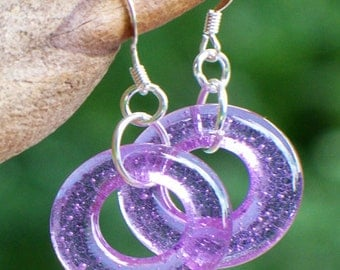 Recycled Early 1900's Amethyst Bottle Glass Hoop Earrings/Gifts for Mom/Unique Jewelry/Eco Friendly Jewelry/Upcycled Jewelry/Mom Gifts