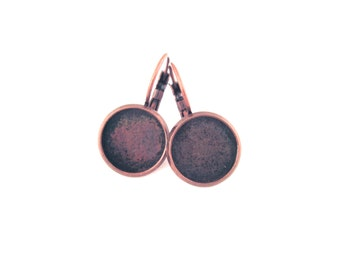12mm leverback bezel earrings, copper plated, pick your amount