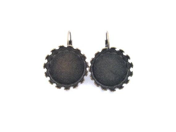 5pr. of 18mm bezel setting Earring Hooks, brass prong setting leverback earrings, (10 pieces)