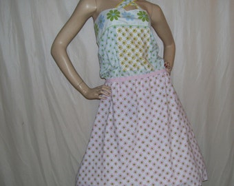 Crazy Daisy Sundress Vintage Flower Power Fabric Hippie Resort Wear Dress Pink Blue Green Adult M L Upcycled Cotton Blend