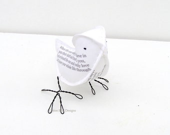 2yr Anniversary Cotton Bird -The One - Personalized Second Wedding Anniversary Gift Art Sculpture - Made To Order