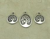 3 TierraCast Bird in a Tree Pendant & Charm Mix > Leaf Bodhi Spiritual Zen Buddhist Silver Plated Lead Free Pewter - I ship Internationally