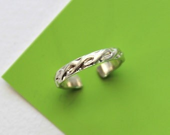 Twist or Rope Sterling SIlver Toe Ring, Midi Ring,Knuckle Ring Handmade Body Jewelry