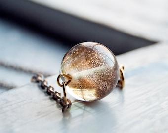 Gold Dust Woman Mini Pixie Dust Glass Marble Sparkle Gold Dust Glitter Necklace
