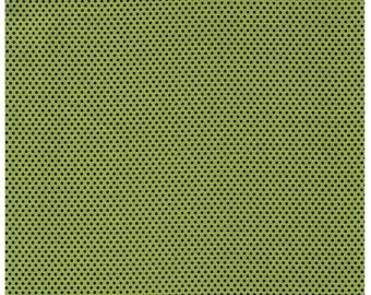 HALF YARD Yuwa - Black Dots on GREEN - Polka Dots by Kei - Japanese Import Fabric